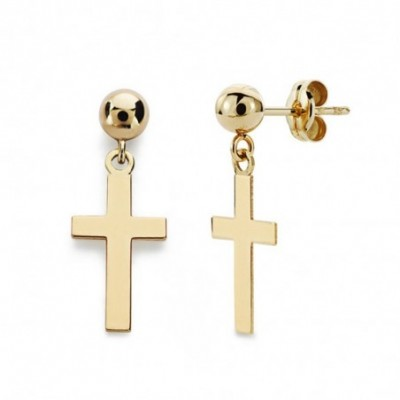 Pendientes oro 18k cruz lisa 12mm. bola  [AB4678]