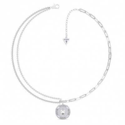 Gargantilla Guess From Guess With Love UBN70000 acero inoxidable rodiado Swarovski moneda corazón