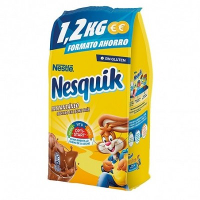 Pack 10 uds. Nesquik Cacao Soluble Instantáneo Sin Gluten - 1.2 kg.